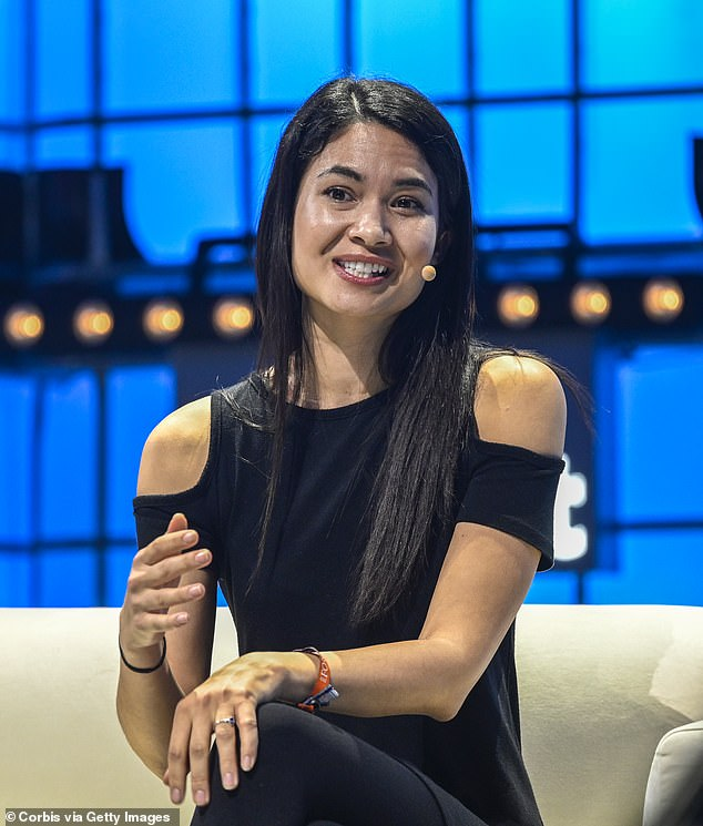 Ms Perkins pictured at theCenter Stage of Web Summit in Lisbon in November 2019 with what appears to be the $30 engagement ring given to her by her fiance in Turkey. Her wealth is trumped only by that of Australian mining magnate Gina Rinehart