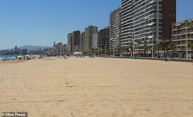 Benidorm - Spain one of the city's most popular resorts, has been all-but deserted for months amid banned coronaviruses, but is now starting to reopen (pictured, the beach divided into socially distant tan areas)