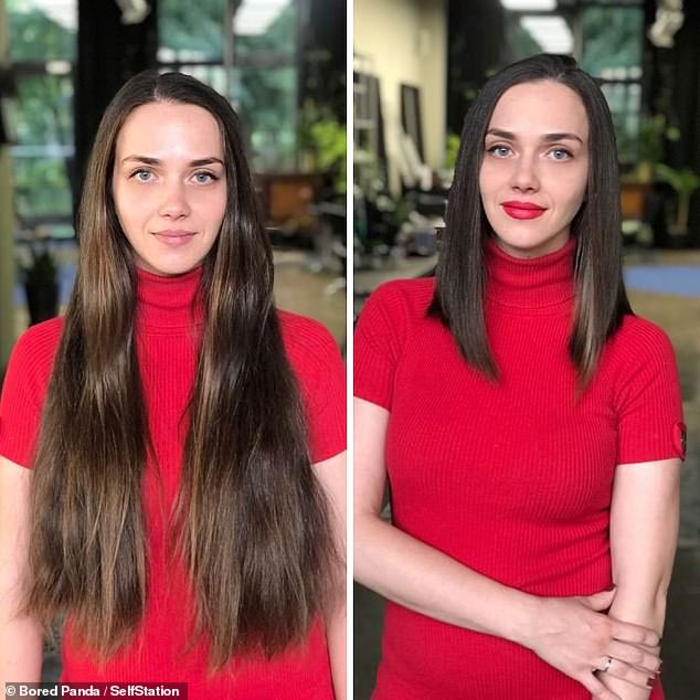 Cutting this woman's long locks to just below the shoulder helped to accentuate her neck and cheekbones. The hairdresser said she also took into consideration her complexion and the proportions of her client's body