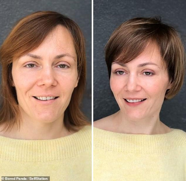 Jurgita said cutting and colouring a person's hair is like choosing the right colours for a canvas. This woman's jawline appears sharper following her chic bob cut