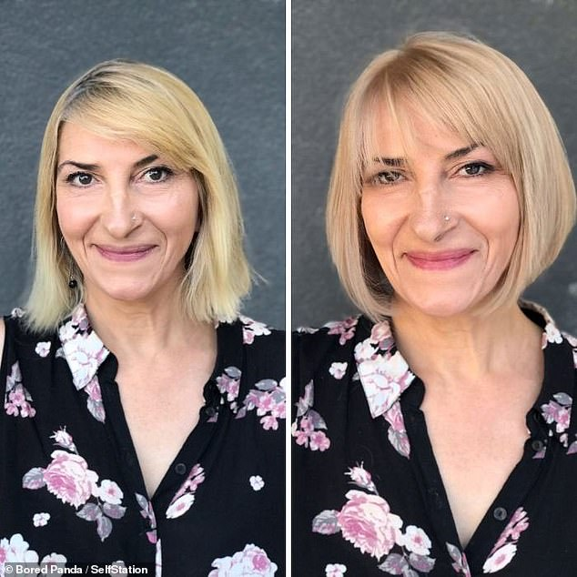 While every person's hair is different, Jurgita said she always had a knack at seeing which cut would best suit a client. She mellowed this woman's blonde hue with honey highlights and gave her a chic bob