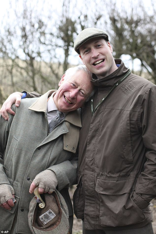 Prince Charles and Prince William, pictured on Father's Day this year, orchestrated  'silent coup' against Prince Harry, a royal expert has claimed