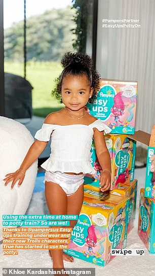 Simply adorable: Khloé called herself a 'stage mom' after sharing these cute photos of her daughter True promoting Pampers