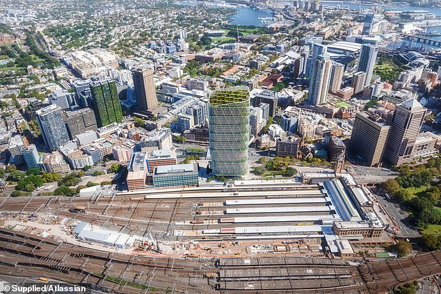 The 180-metre-tall building with 40 storeys will be situated near Sydney's Central Station and be the tallest 'hybrid timber' tower in the world once completed