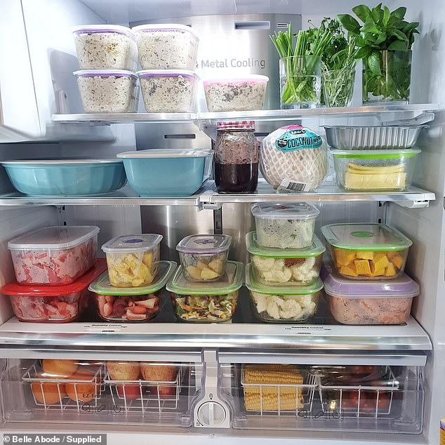 Speaking to FEMAIL, mother Belle Saf, 37, from Melbourne, said she spent two years researching her fridge makeover and deciding on the exact containers she wanted (pictured)
