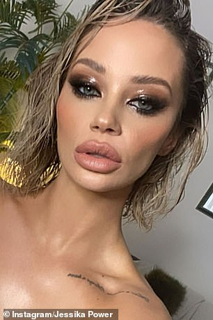 Pictured: Jessika showing off her pout on Wednesday