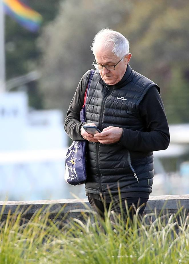 Mr Turnbull (pictured) was seen in all black on his phone at Rushcutters Bay on Wednesday morning
