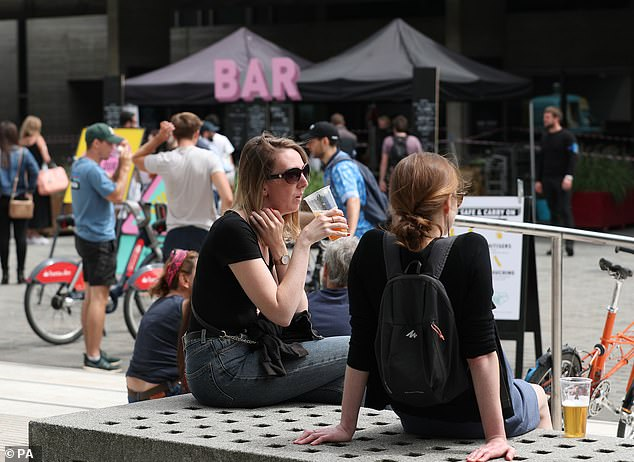 Drinkers relax on the Southbank in London this week, with ministers set to loosen restrictions on al fresco trade