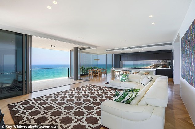 The apartment is in the eight-story Main Beach SEA building and spans 367 square metres