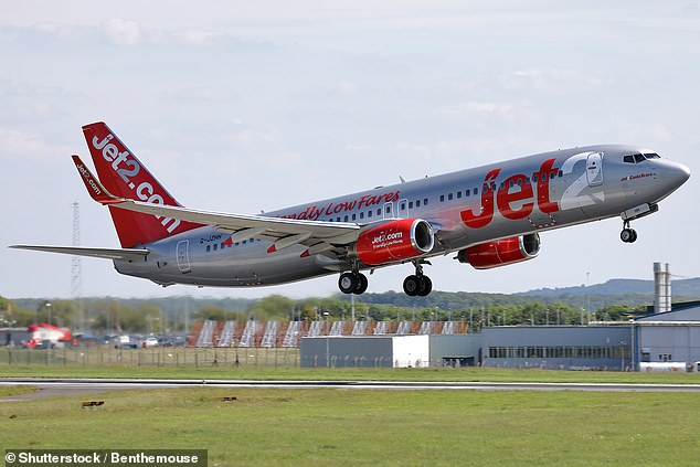 Hardman, 36, headbutted and kicked the door to the Jet2 aircraft and shouted 'Get me the f**k off this f**king plane!' when the Boeing 737-800 developed a technical fault on its way to the runway at Manchester Airport (stock image)