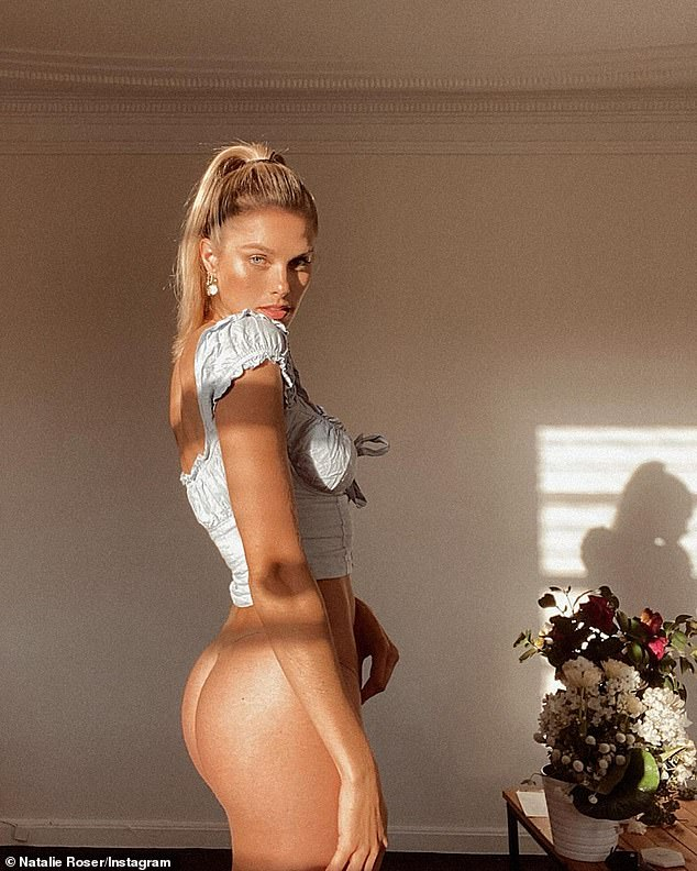 Very cheeky! On Thursday, Natalie Roser (pictured) appeared angelic as she posed bottomless bathed in sunlight... but not all was what it seemed