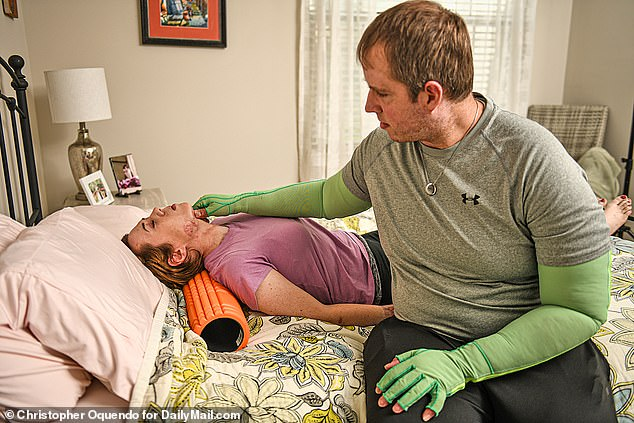 Lauren is still battling a lunch infection, but her husband helps by performing scar massage therapy on her