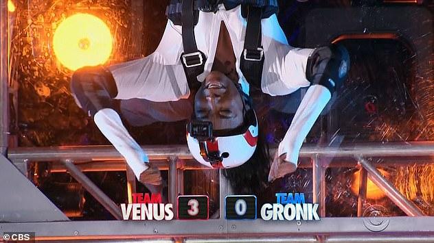 Challenge winner: Venus earlier beat Gronk in an upside down hanging sit-up challenge