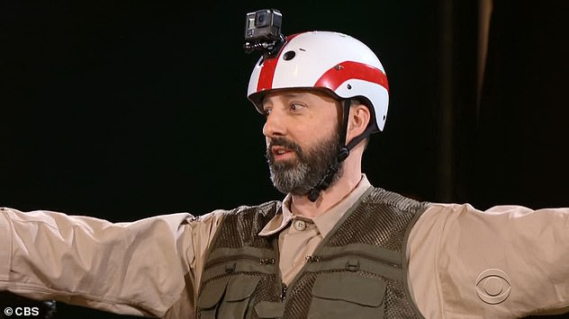 Obstacle course: Tony Hale took part in challenge five that required each team to run through a jungle-themed obstacle course while the other team tried to correctly answer more sports-related questions