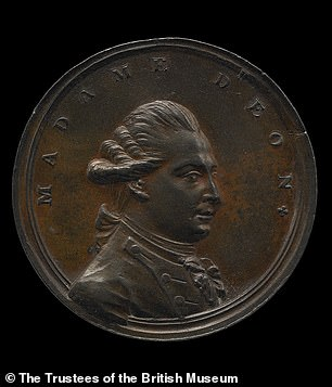 A bronze medal of Chevalier d'Eon who was a celebrated 18th-century soldier, diplomat and spy that lived as a man and a woman