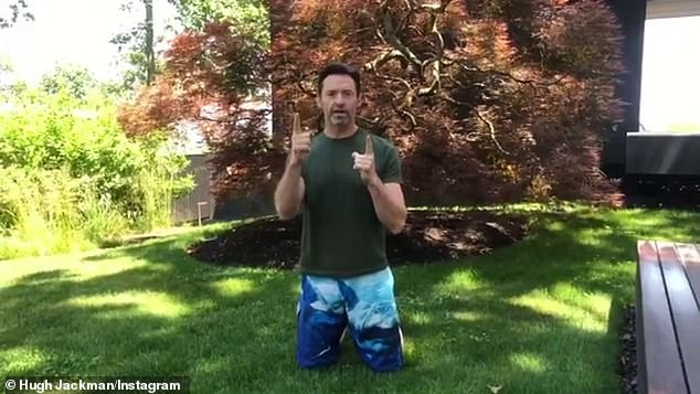 'I nominate myself!' Wolverine star Hugh Jackman smashed through the 25 push up challenge for charity