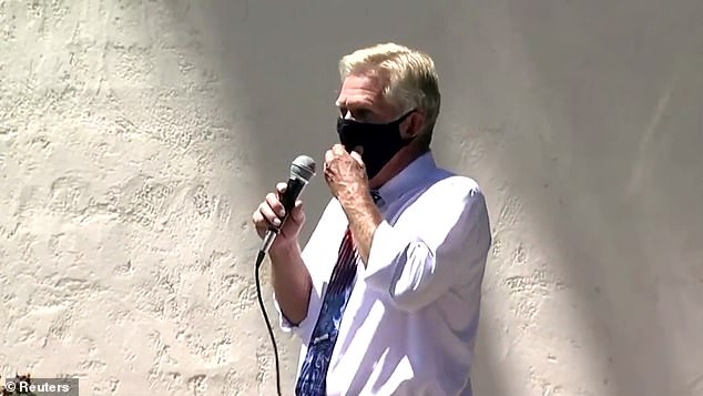 Scottsdale councilman Guy Phillips, a Republican, shouted 'I can't breathe' at a rally protesting the mandatory wearing of facemasks, seeming to mock the death of George Floyd