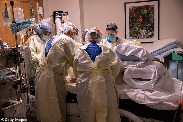 However, the fill rate of the drug fell from 97% to 54%, meaning pharmacies are having a tough time keeping up with demand. Pictured:A prone team turns over a patient with COVID-19 in the ICU at Stamford Hospital in Stamford, Connecticut, April 24