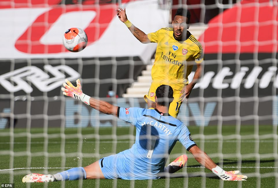 Arsenal attacker Aubameyang goes for goal in the early stages of his side's clash away to Southampton but he hit the bar