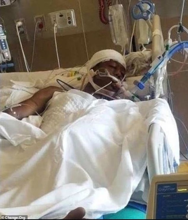 McClain (pictured) was in a Colorado hospital for four days, during which time he was put on life support and declared brain dead