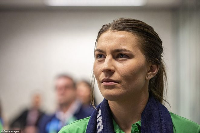 Steph Catley of the Matildas looks on as FIFA announce the hoststo the 2023 FIFA Women's World Cup