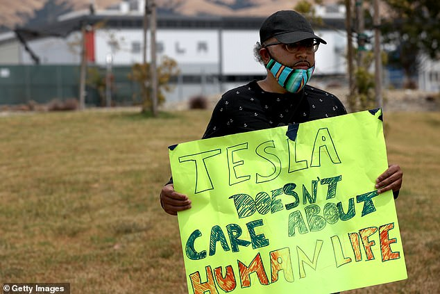Former Tesla employees Carlos Gabriel (pictured) and Jessica Naro say they were fired from their jobs at the electric vehicle maker's plant in Fremont, California, after they were given permission to stay home, unpaid, if they felt uncomfortable working during COVID-19
