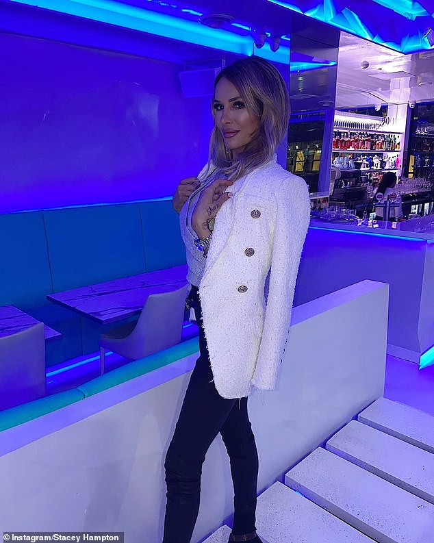 Jet setter!Stacey, 26, who had jetted in from Adelaide for the night out showed off her trim pins in a pair of tight black leather pants, grey sweater and white jacket