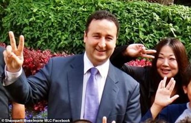 Mr Moselmane's home in Sydney's south was raided by Australian Federal Police on Friday morning amid an investigation into Chinese influence over Australian politics (Moselmane pictured with his wife Mika)