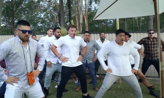 After the ceremony, a group of men performed the haka (pictured) to a teary Navar, before coming up one by one to congratulate the couple on their union
