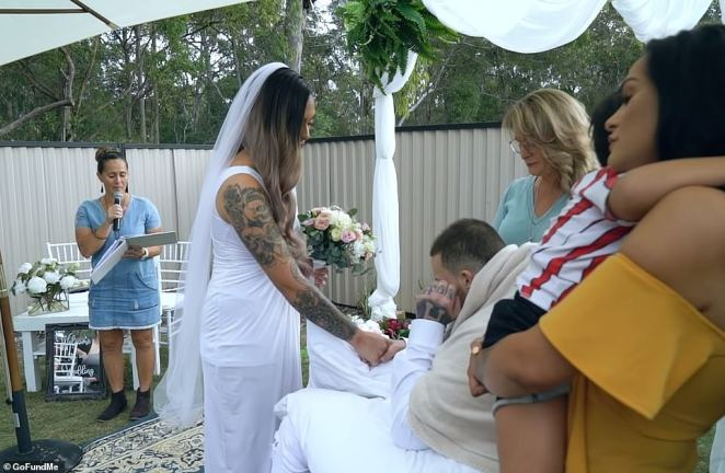 Maia Falwasser marriedNavar Herbert in an emotional ceremony in June last year (pictured) -the day before he died