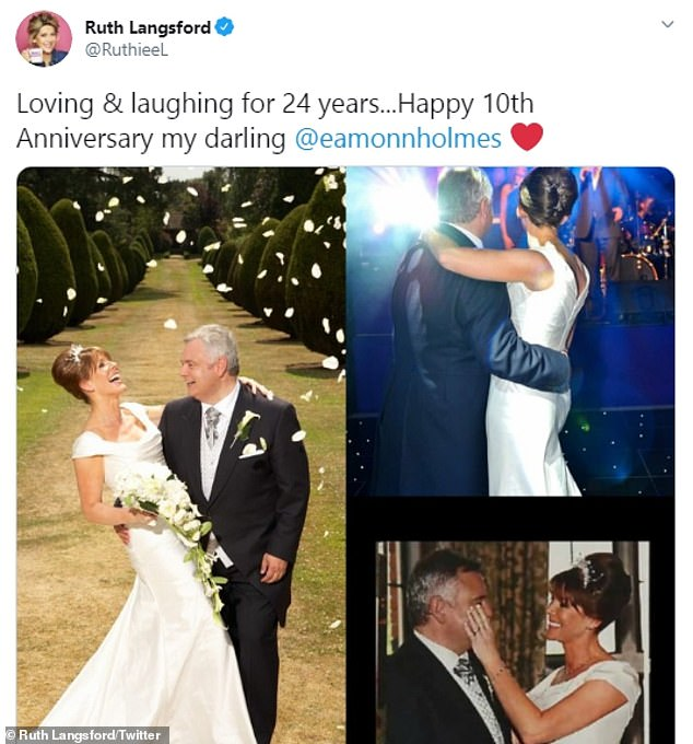 Happy together: Ruth shared adorable throwback snaps of their wedding which was the hottest day of the year