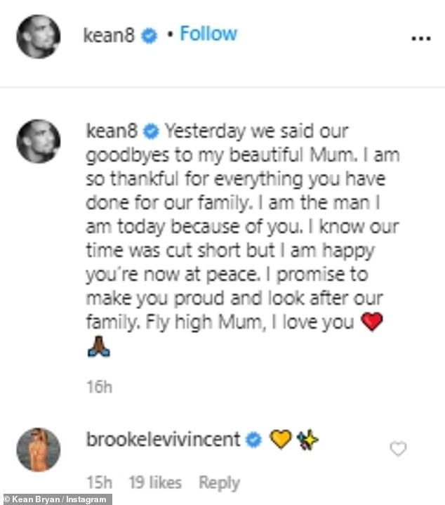 An honor: Brooke threw her support behind her partner with a simple heart under the post while a host of his teammates paid tribute