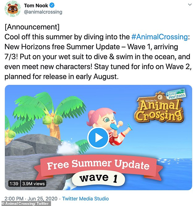 Animal Crossing: New Horizons tweeted the announcement for the summer update on June 25
