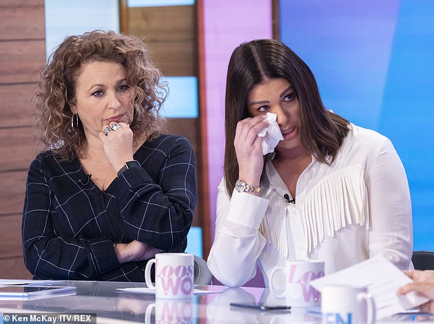 Overwhelmed with emotion: In February, Becky emotionally claimed on Loose Women that she was hospitalised 'three times' over the impact of her feud with Coleen