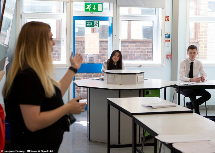 A Whitehall source said the plans, which will be released next week, will allow Boris Johnson to fulfill his commitment to pick up all the children full time in September. Pictured, students are back in class at Ortu Gable Hall School in Corringham, Essex