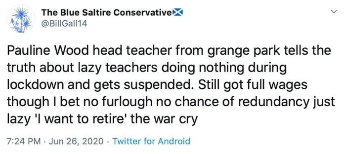 People went on Twitter to praise Ms. Wood's `` refreshing honesty '' with a posted account: `` Pauline Wood, director of barn park, tells the truth about lazy teachers who do nothing during lockdown and are suspended ''