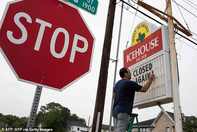 Bar owner Petros J. Markantonis changes his bar tent to `` Closed Again '' at the West Alabama Ice House in Houston, Texas on Friday after the governor ordered the bars closed