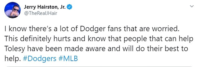 Former Dodgers player Jerry Hairston Jr. said on Twitter that `` the people who can help Tolesy have been informed and will do their best to help ''