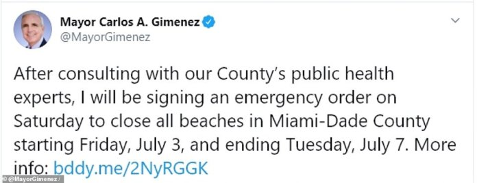 Gimenez tweeted that he had consulted with county health officials before deciding to sign the emergency order and said he could extend beach closings if people don't wear masks at the inside companies and when they are unable to practice a social distance of six feet
