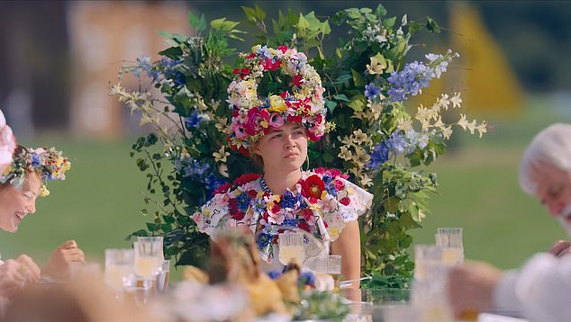 Strange choice: The party was inspired by the hit independent horror film Midsommar; Florence Pugh photographed in Midsommar
