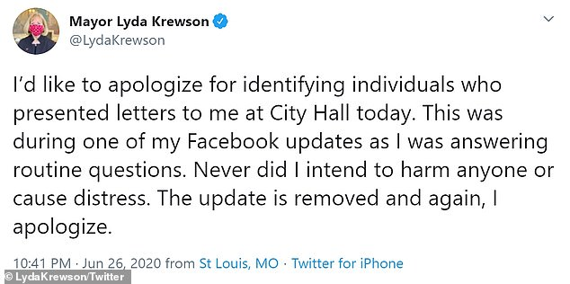 The video stayed online for three hours before it was finally taken down and Krewson was forced to issue an apology (pictured)