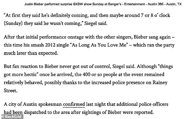 Another article shows that Bieber did not arrive in Austin after his girlfriend Selena Gomez's show in Houston until late at night