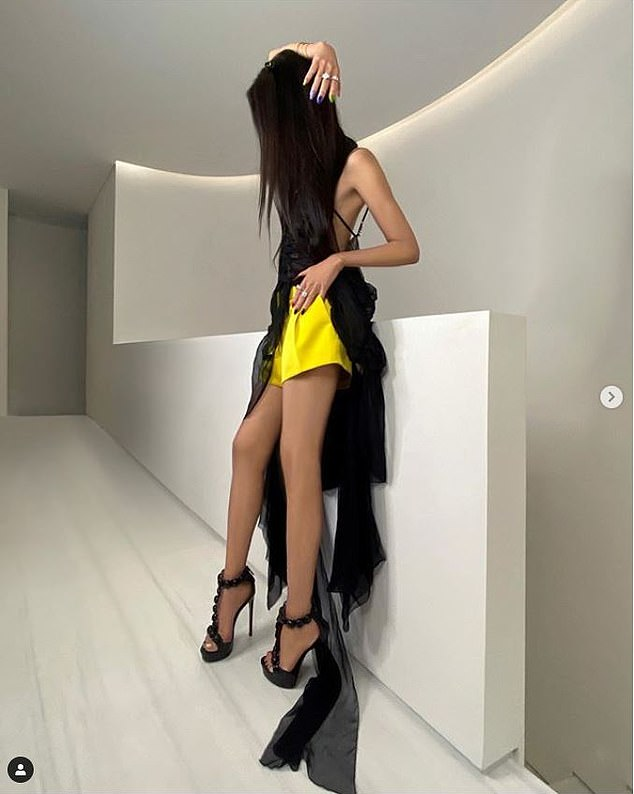 Sensual: she wore a mesh suspender top and yellow silk shorts with a mesh train