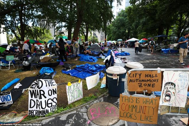 Hundreds of protesters camped outside New York City Hall are demanding that lawmakers slash the New York City police budget by $1billion. The demonstrators have dubbed the area 'Occupy City Hall' and say they will stay until a cut is approved