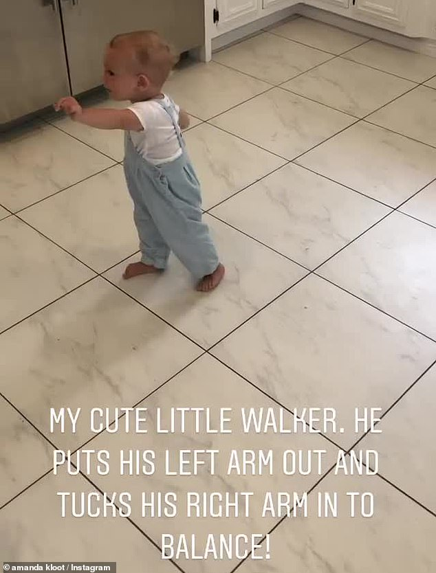 Proud mom: Kloots also posted a video of baby Elvis walking
