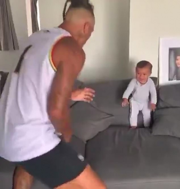 In a video shared by New Zealand ruby star Dan Carter yesterday, eight-month-old Kawariki joins in with his father, rugby player Sean Wainui, 24, in the dance