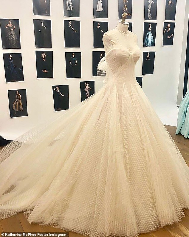 Wow: McPhee shared a snap of her gorgeous and opulent gown