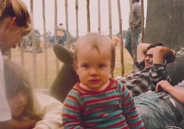 Festival baby: Lily Allen took to Instagram Sunday night to share a sweet throwback shot with visits to Glastonbury as a year-old