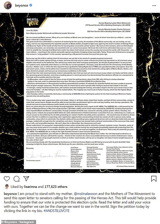 Speaking her truth: The music superstar shared the letter, which had dozens of cosigners