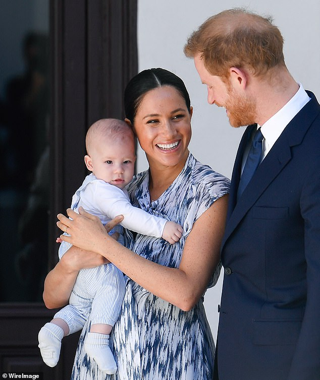 Prince Harry, Meghan Markle and son Archie Mountbatten-Windsor meet Archbishop Desmond Tutu and his daughter Thandeka Tutu-Gxashe at the Desmond & Leah Tutu Legacy Foundation during their royal tour of South Africa on September 25, 2019 in Cape Town